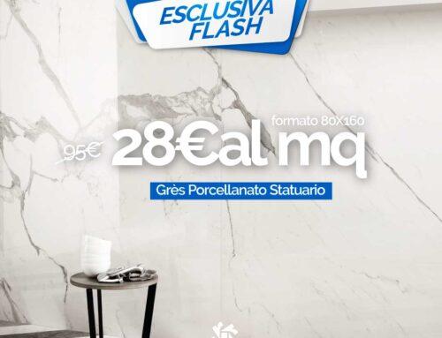 Offerta Pavimento Gres Porcellanato Statuario Effetto Marmo Lucido 80×160
